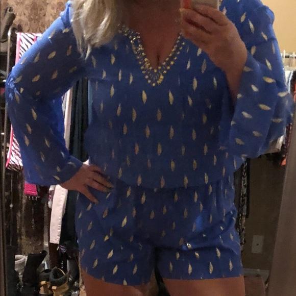fd70a9f45641 Lilly Pulitzer Blue Ariele Silk Romper XL NWT